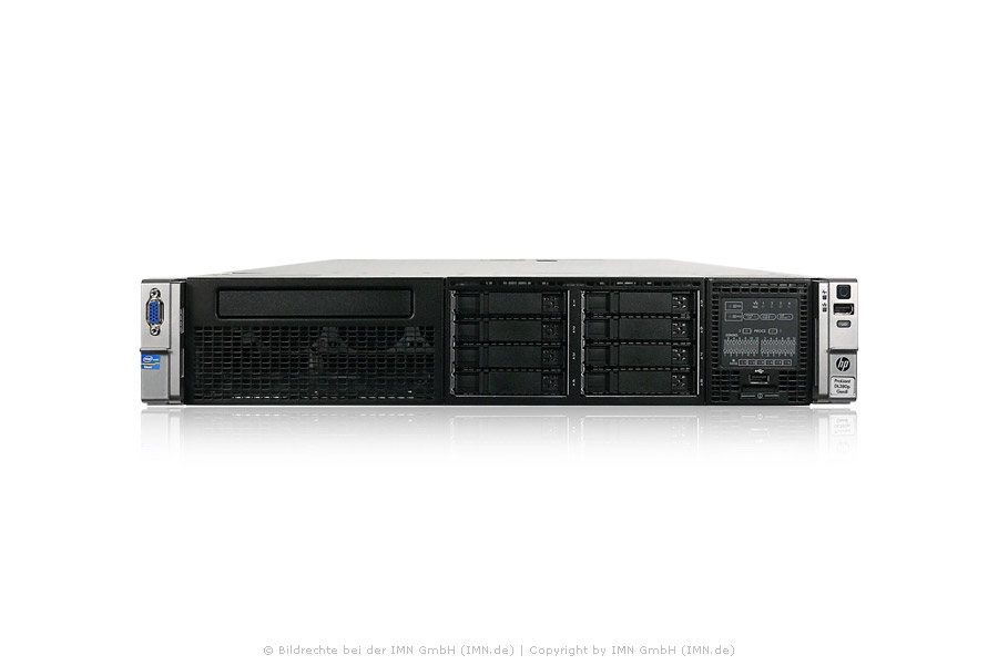 HP ProLiant DL380p G8, 2x E5-2690, 24x 16GB, 8x 600GB, 2x PSU, Rackkit, rfb.